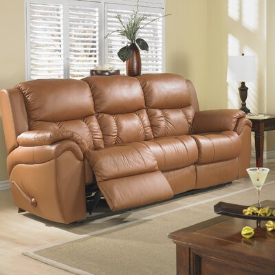 Matteo Leather Reclining Sofa Type: Power, Upholstery: Red