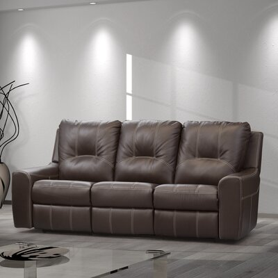 Paige Leather Reclining Sofa Type: Power, Upholstery: Taupe