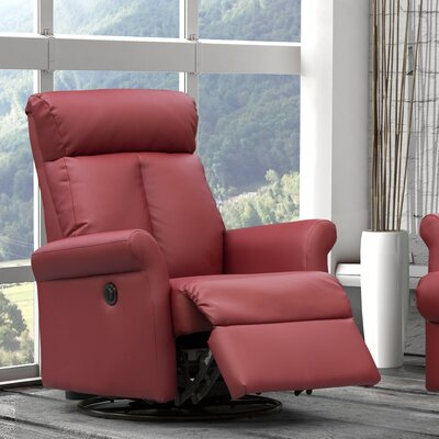 Lynn Power Swivel Recliner Color: Red