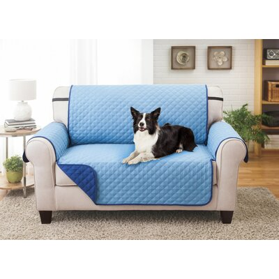 T-Cushion Loveseat Slipcover Color: Navy/Provencial Blue