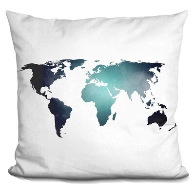 Harvell Map Throw Pillow Color: Black/Blue
