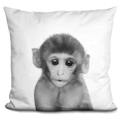 Hoeft Baby Monkey Throw Pillow Color: Black/White