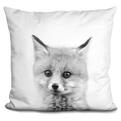 Leithgow Baby Fox Throw Pillow Color: Black/White