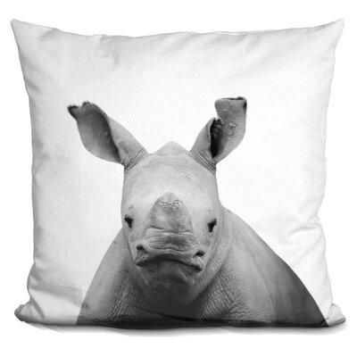 Hoehne Baby Rhino Throw Pillow Color: Black/White