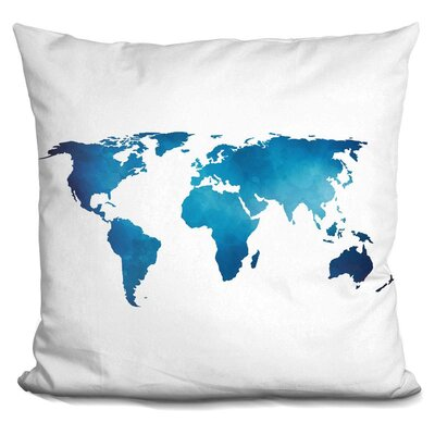Harvell Map Throw Pillow Color: Blue/White