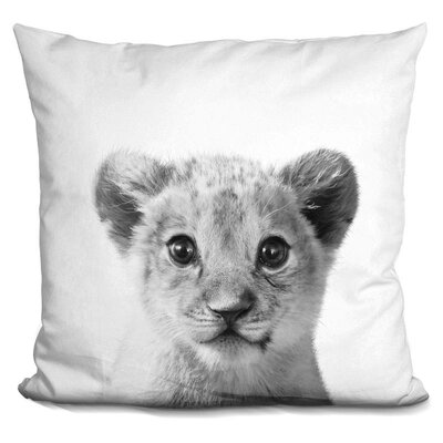 Hermes Baby Lion Throw Pillow Color: Black/White