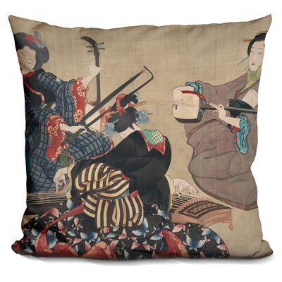 Three Women Playing Musical Throw Pillow