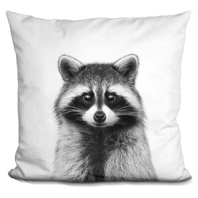 Kelsch Raccoon Throw Pillow Color: Black