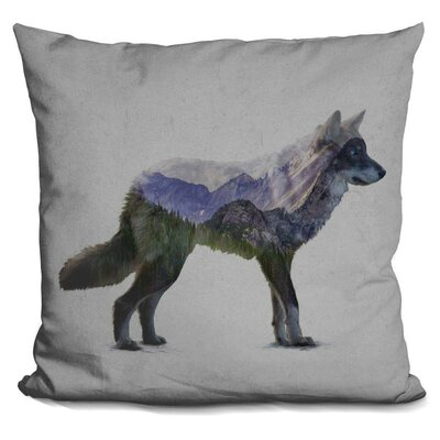 Olague Gray Wolf Throw Pillow