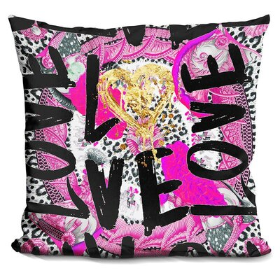 Love Me in Throw Pillow Color: Black/Pink