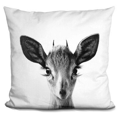 Demaio Baby Deer Throw Pillow Color: Black/White
