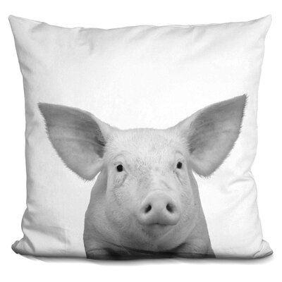 Kells Pig Throw Pillow Color: Black/White