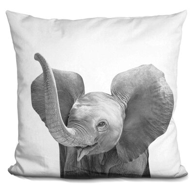 Baby Elephant Throw Pillow Color: Black/White
