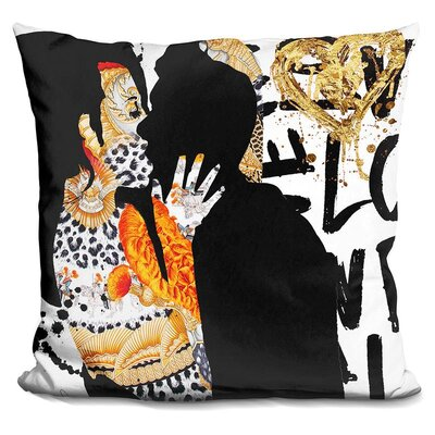 Kiss Me in Throw Pillow Color: Black/Gold