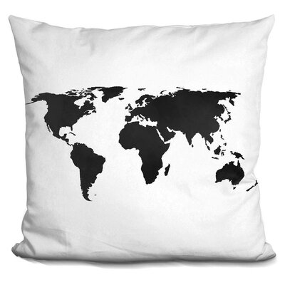 Harvell Map Throw Pillow Color: Black/White