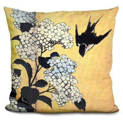 Hydrangea and Swallow Throw Pillow