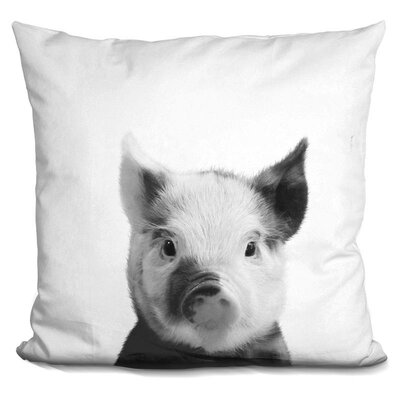 Kellum Piglet Throw Pillow Color: Black/White