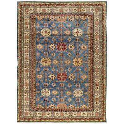 One-of-a-Kind Kazak Hand-Woven Wool Blue/Brown Area Rug