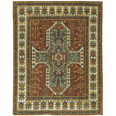 One-of-a-Kind Soho Kazak-Sil Hand-Woven Wool Rust/Beige Area Rug