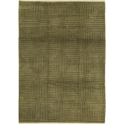 One-of-a-Kind Tibetan Assorted Hand-Woven Wool Sage/Green Area Rug