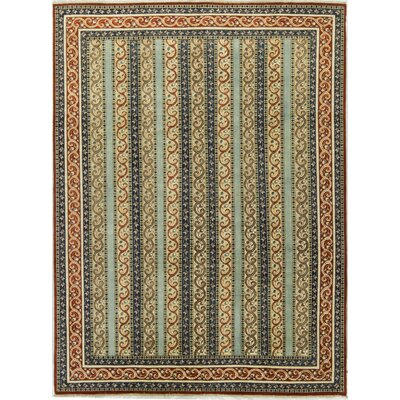 One-of-a-Kind Aryana Shawl Hand-Woven Wool Blue/Red Area Rug