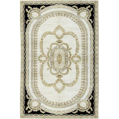 Himalayan Savon Wool Ivory/Black Area Rug