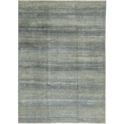 One-of-a-Kind Damask Hand-Woven Gray Blue Area Rug