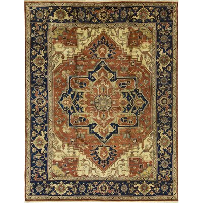 One-of-a-Kind Heriz Serapi Hand-Woven Wool Rust/Beige Area Rug