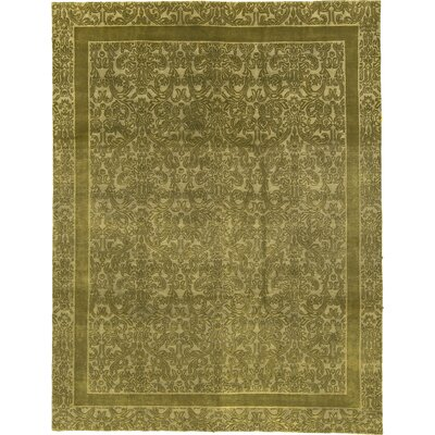 One-of-a-Kind Himalayan Damask Hand-Woven Wool Green Area Rug