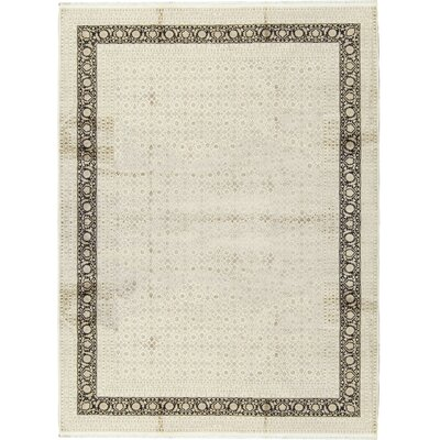 One-of-a-Kind Nirvana Heart Hand-Woven Cream/Black Area Rug