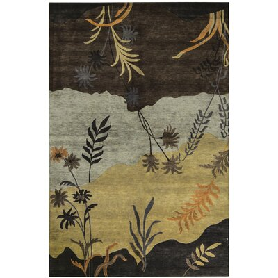 One-of-a-Kind Himalayan Hand-Woven Black/Camel Area Rug