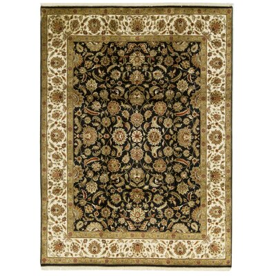 One-of-a-Kind Crown Magnolia Hand-Woven Wool Black/Ivory Area Rug