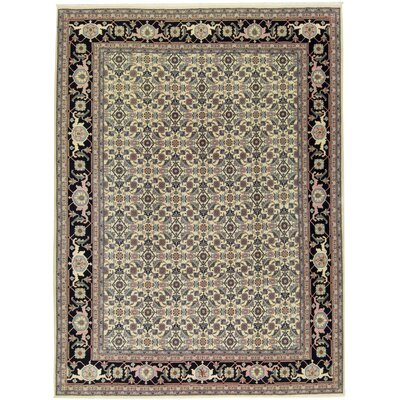 One-of-a-Kind Semi-Antque Romainia Antique Romania Hand-Woven Wool Black/Ivory Area Rug