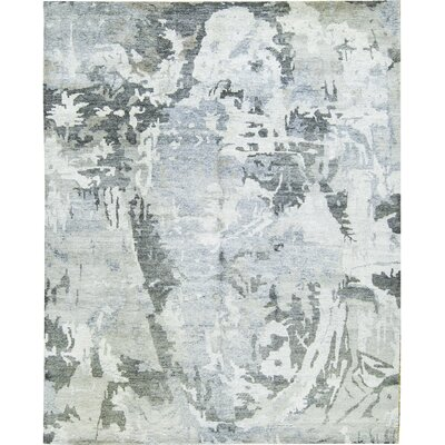Rayon from Bamboo Silver/Charcoal Area Rug Rug Size: Rectangle 84 x 103