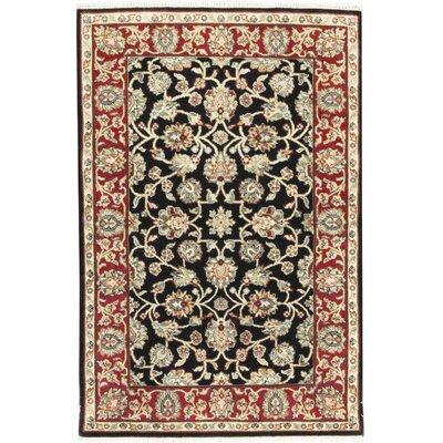 Crown India Wool Black/Red Area Rug