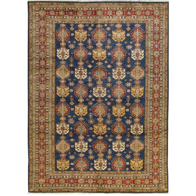 One-of-a-Kind Kazak Hand-Woven Wool Blue/Red Area Rug