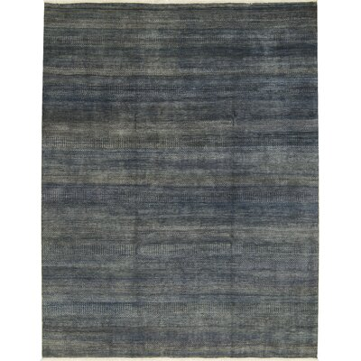 One-of-a-Kind Damask Hand-Woven Dark Blue/Gray Area Rug