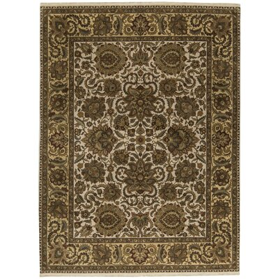 One-of-a-Kind Crown Magnolia Hand-Woven Wool Brown/Ivory Area Rug
