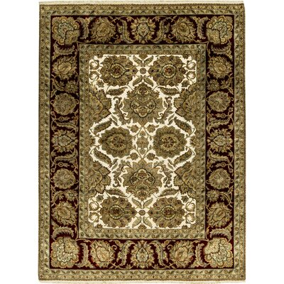 One-of-a-Kind Crown Magnolia Hand-Woven Wool Beige/Black Area Rug