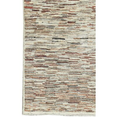 One-of-a-Kind Afghan Gabbeh Hand Woven Wool Cream Area Rug