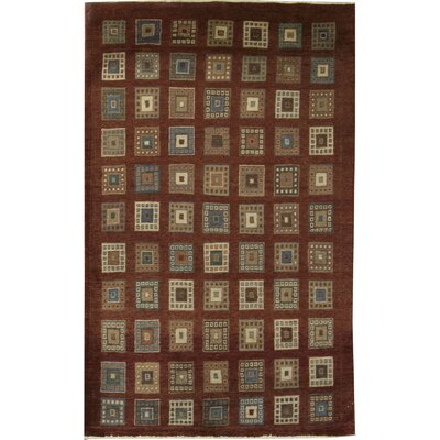 One-of-a-Kind Zarbof Quality Squares Hand Woven Wool Rust Brown Area Rug