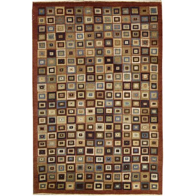 One-of-a-Kind Zarbof Quality Squares Hand Woven Wool Burnt Orange Area Rug