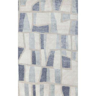 Modern Wool White/Blue Area Rug