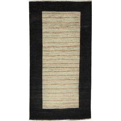 One-of-a-Kind Afghan Wool Black/Tan Area Rug