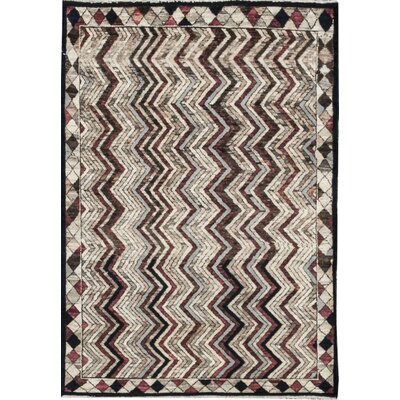One-of-a-Kind Afghan Gabbeh Hand Woven Wool Chevy Area Rug