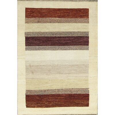 One-of-a-Kind Gabbeh Polka Dot Stripe Hand Woven Wool Cream/Brown/Red Area Rug Size: Rectangle 41 x 59