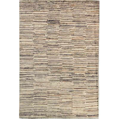 One-of-a-Kind Afghan Gabbeh Hand Woven Wool Cream/Brown Area Rug