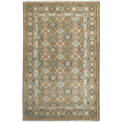 Semi-Antique Romania Hand Woven Wool Light Brown/Green Area Rug