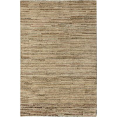 One-of-a-Kind Afghan Gabbeh Hand Woven Wool Cream/Black Area Rug