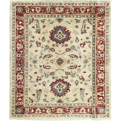 Zarbof Quality Wool Ivory/Red Area Rug